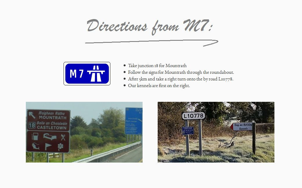 Directions to kennels from M7
